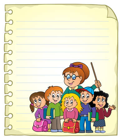 school class: Notebook page with school class Illustration