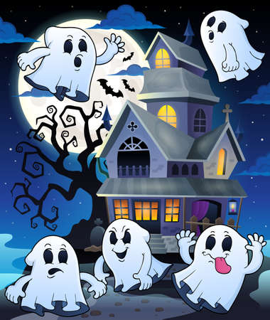 tree house: Ghosts near haunted house theme Illustration
