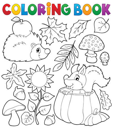 Coloring book autumn nature theme