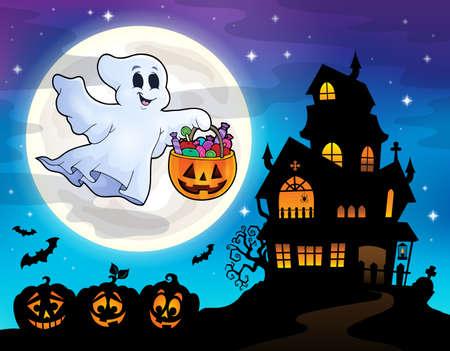 Halloween spook in de buurt van spookhuis