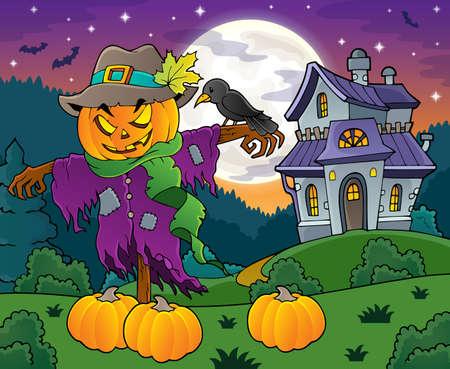 Halloween scarecrow theme image Illustration