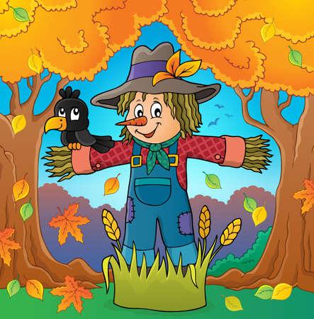 Scarecrow theme image Stock Illustratie