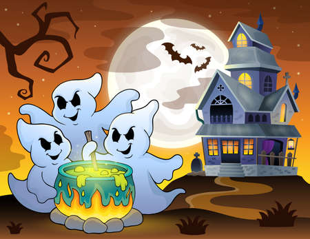 potion: Ghosts stirring potion theme image Illustration