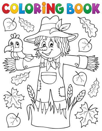 Coloring book scarecrow theme Vectores