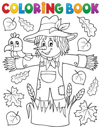 Coloring book scarecrow theme Illustration