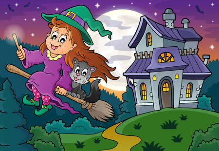 midair: Cute witch on broom near haunted house