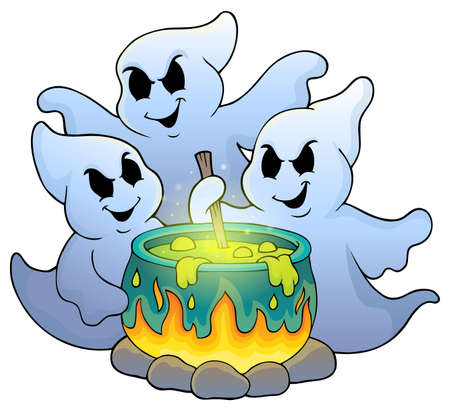 stirring: Ghosts stirring potion theme image Illustration