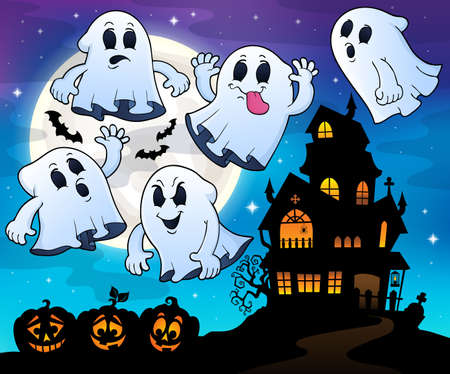 Ghosts near haunted house theme Illustration