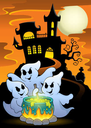 ghost house: Ghosts stirring potion theme image Illustration