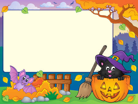 Autumn frame with Halloween cat theme