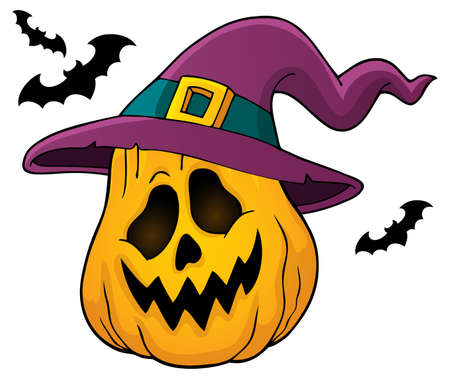Pumpkin in witch hat theme