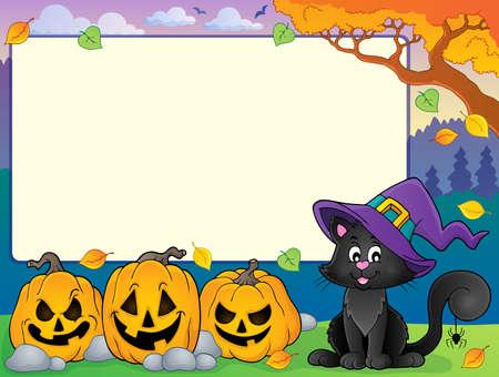 marcos decorativos: Marco del otoño con el gato de Halloween