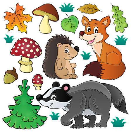 conjunto tema de la fauna del bosque