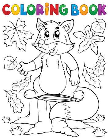 autumn colouring: Coloring book cute fox theme