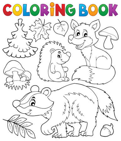 animal themes: Coloring book forest wildlife