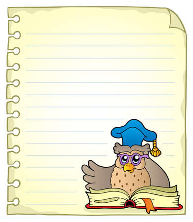 notebook page: Notebook page with owl teacher