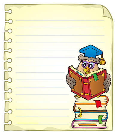 notepads: Notebook page with owl teacher