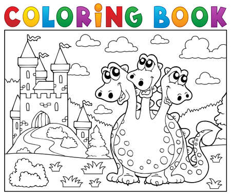 stronghold: Coloring book dragon near castle theme