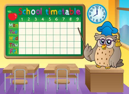 cronograma: tema de calendario aula de la escuela