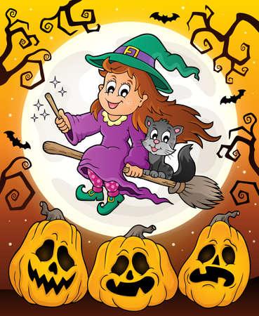 tema di Halloween con la strega carina e gatto