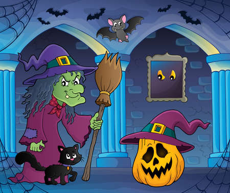 castle interior: Witch with cat and broom theme image