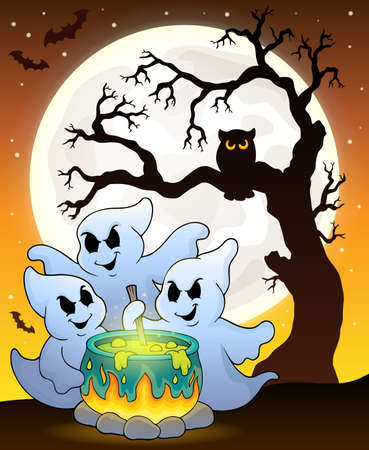 stir: Ghosts stirring potion theme image Illustration