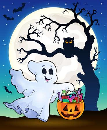 fantasma de Halloween con la silueta del árbol Ilustración de vector