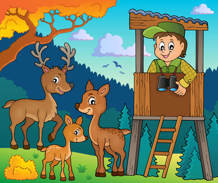 on the lookout: Forester theme image 2 - eps10 vector illustration.