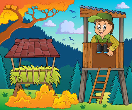 on the lookout: Forester theme image 3 - eps10 vector illustration. Illustration