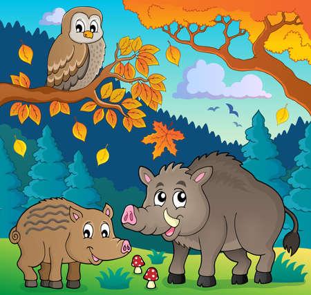 Forest wildlife theme image 5 - eps10 vector illustration. Illustration