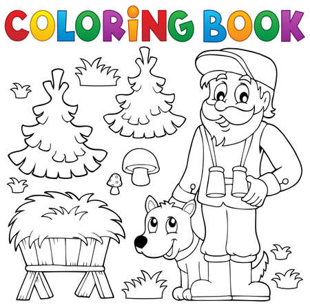 countryside: Coloring book forester theme 2 - eps10 vector illustration.