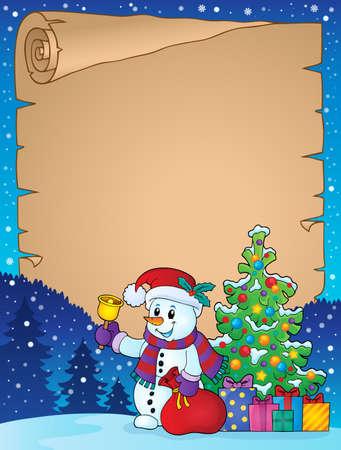 Parchment with Christmas snowman Illustration