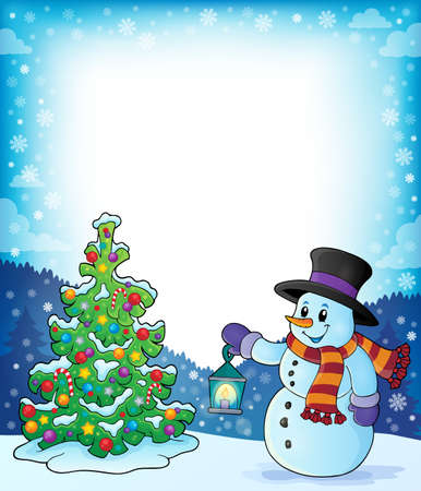 Frame with Christmas tree and snowman