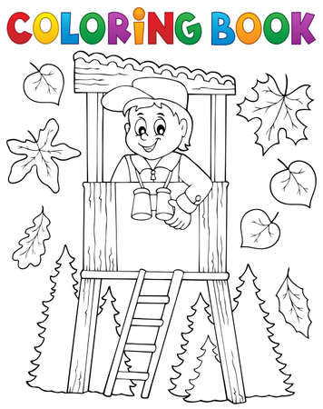 Coloring book forester Illustration