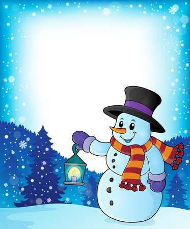 Snowman with lantern theme Illustration