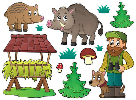 wildlife: Forester and wildlife Illustration