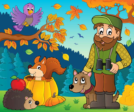 Forester and autumn animals