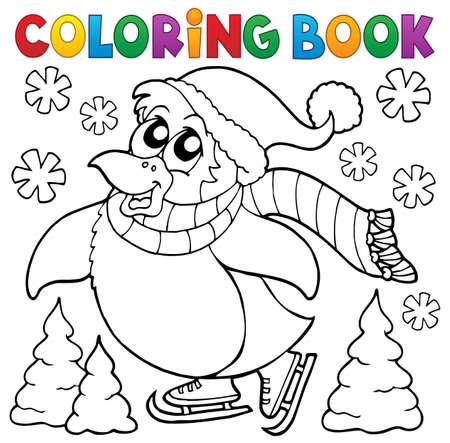 Dibujos Para Colorear De Patinaje Libro De Pingüinos Ilustración ...