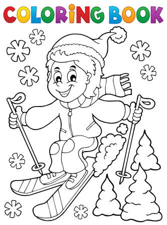 Coloring book skiing boy Ilustração Vetorial