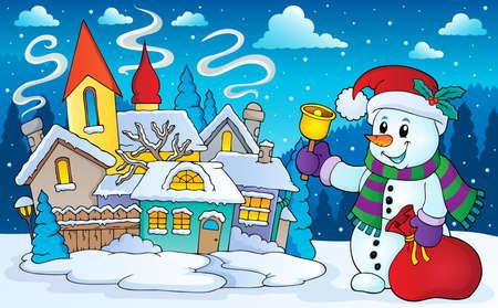 winter scenery: Christmas snowman in winter scenery