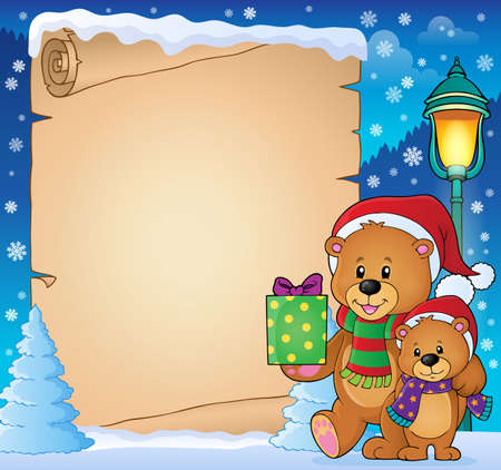 Parchment with Christmas bears Illustration