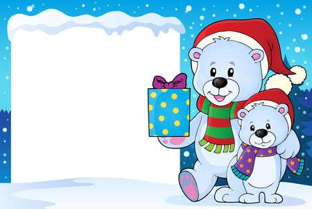 osos navideños: cubierto de nieve marco con los osos de Navidad