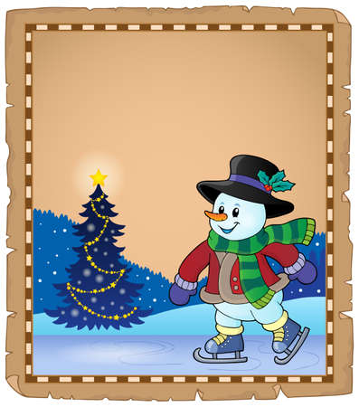 neckscarf: Parchment with skating snowman
