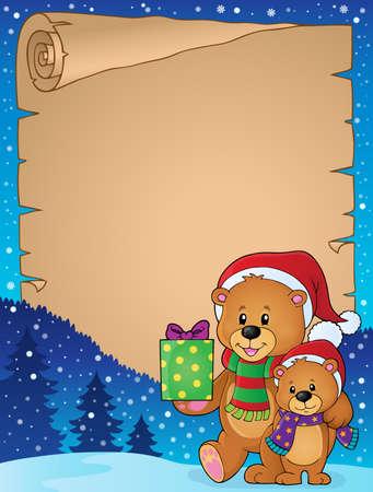 osos navideños: Pergamino con la Navidad es el tema Vectores