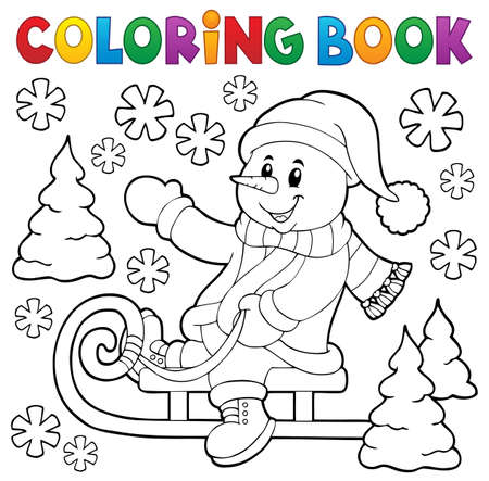 sledging: Coloring book snowman on sledge Illustration