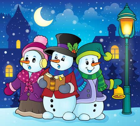 Snowmen carol singers Illustration