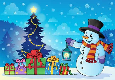 Snowman near Christmas tree
