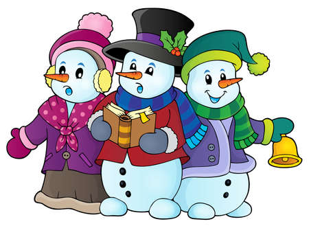 songbook: Snowmen carol singers Illustration