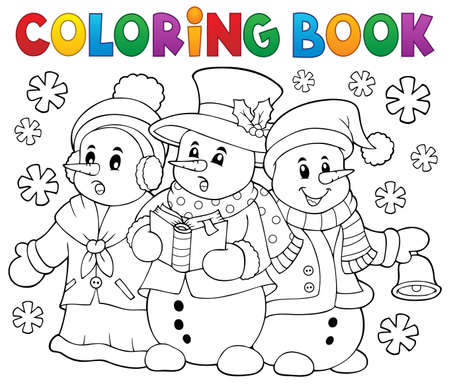 songbook: Coloring book snowmen carol singers Illustration