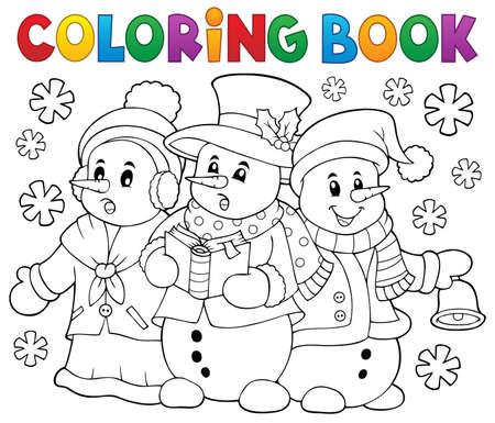 Coloring book snowmen carol singers Illustration